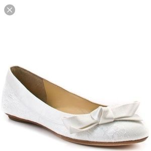 Ivanka Trump CUSHION2 Lacy Ballet Flat Ivory Satin
